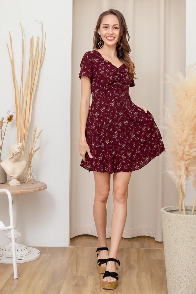 Lani Dress Maroon Floral