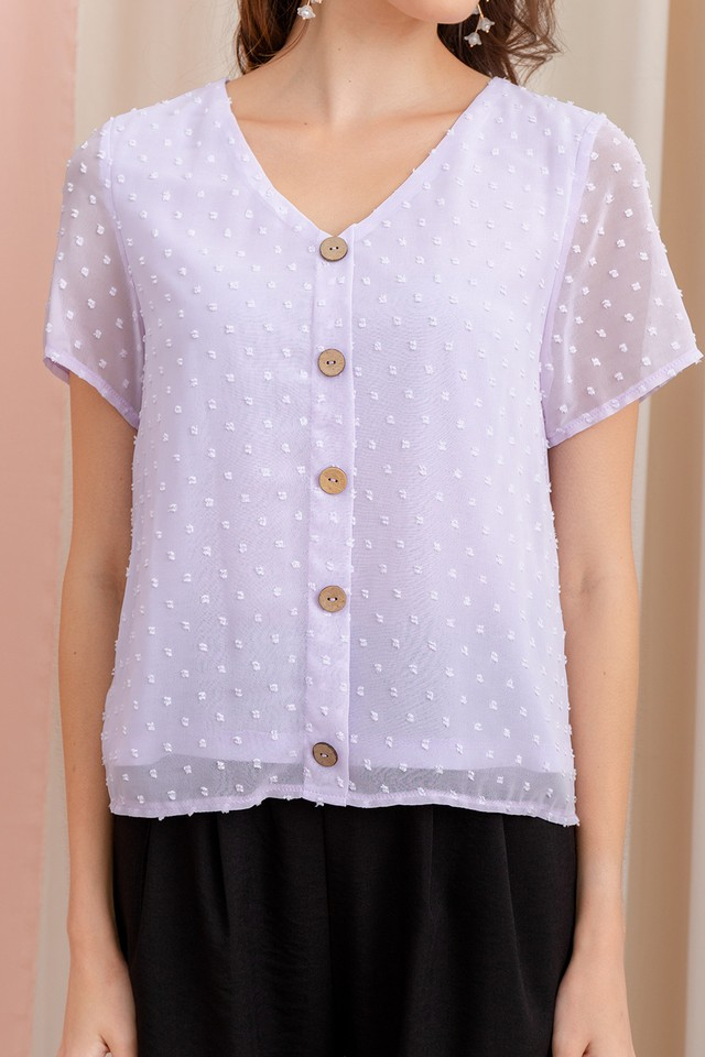 Yuna Swiss Dots Top Pastel Lilac