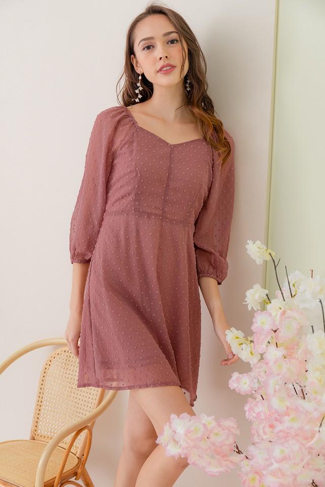 Leland Swiss Dots Dress Rosewood