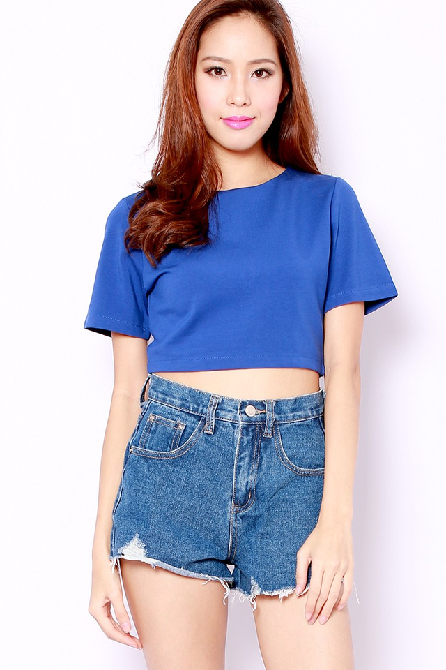 SSD Crop Zipper Top (Cobalt)