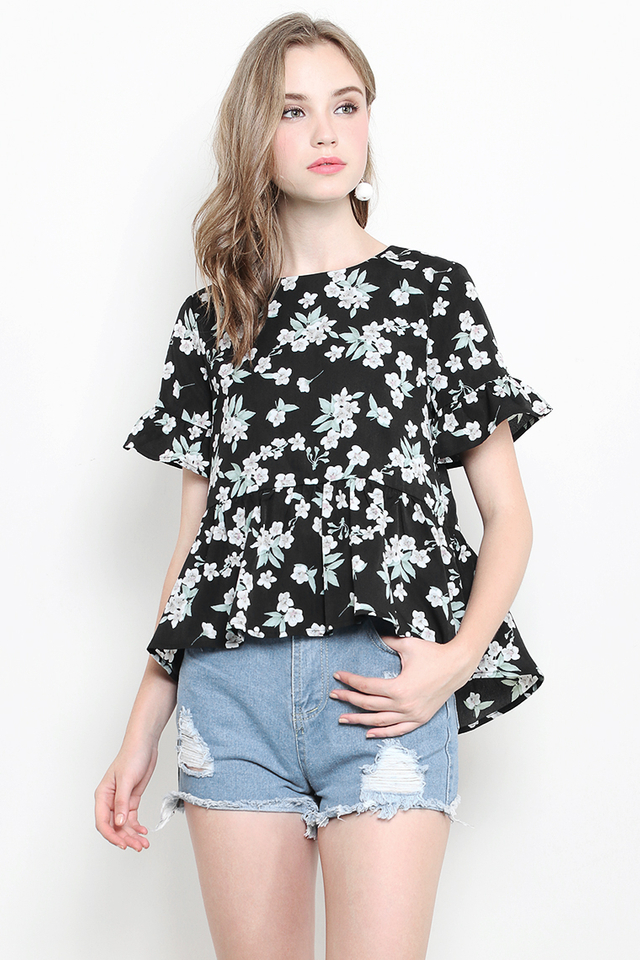 Blaire Top Black Floral