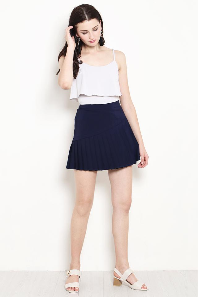 Marlow Pleat Skirt Navy