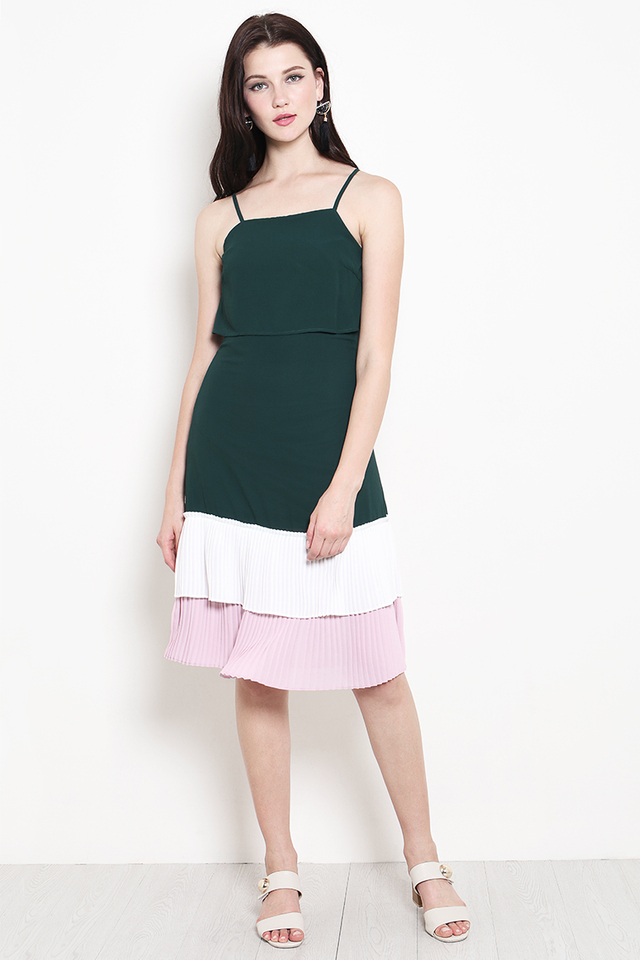 Tiana Colourblock Dress Forest