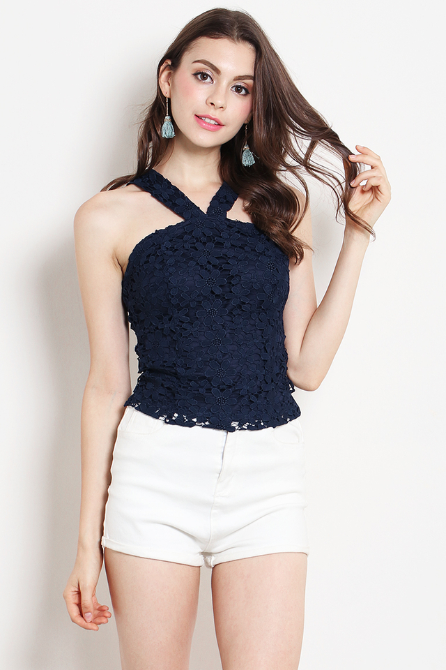 Carmen Crochet Top Navy