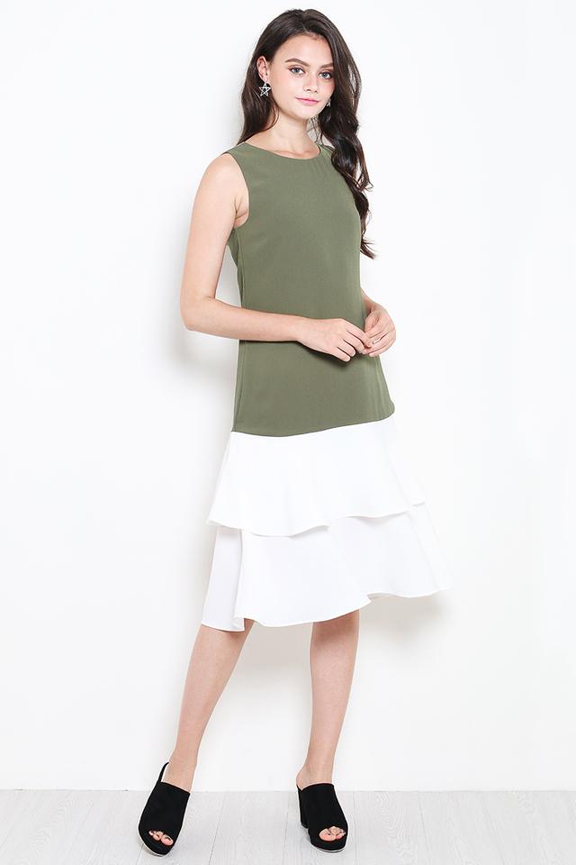 Kira Dress Olive/White