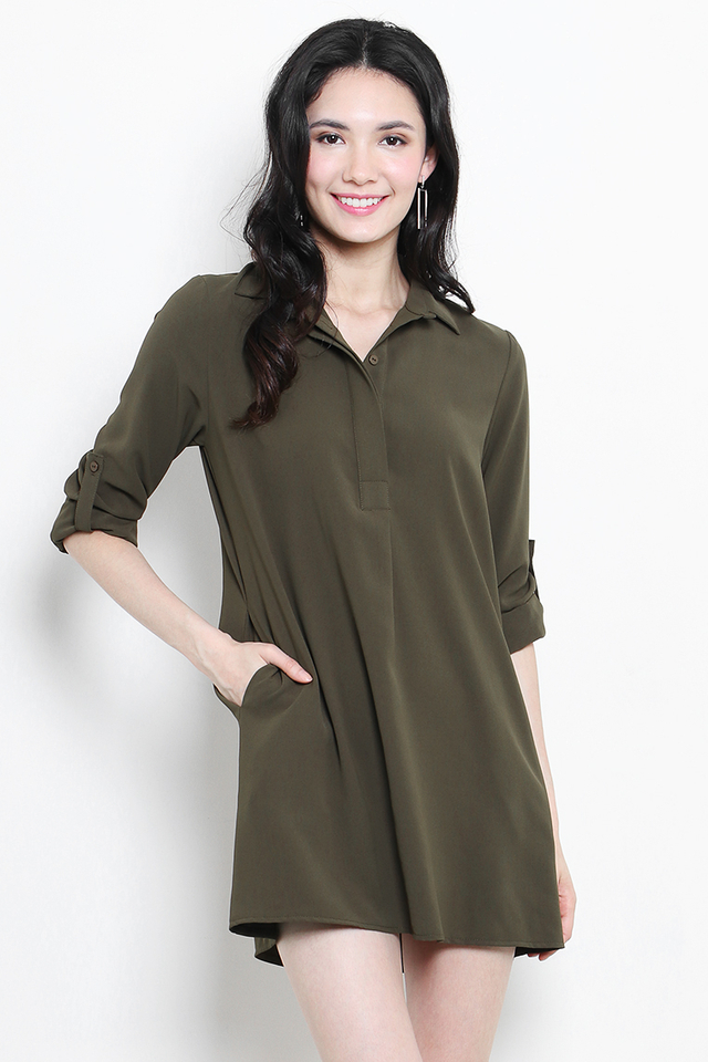 Ondine Shirtdress Army