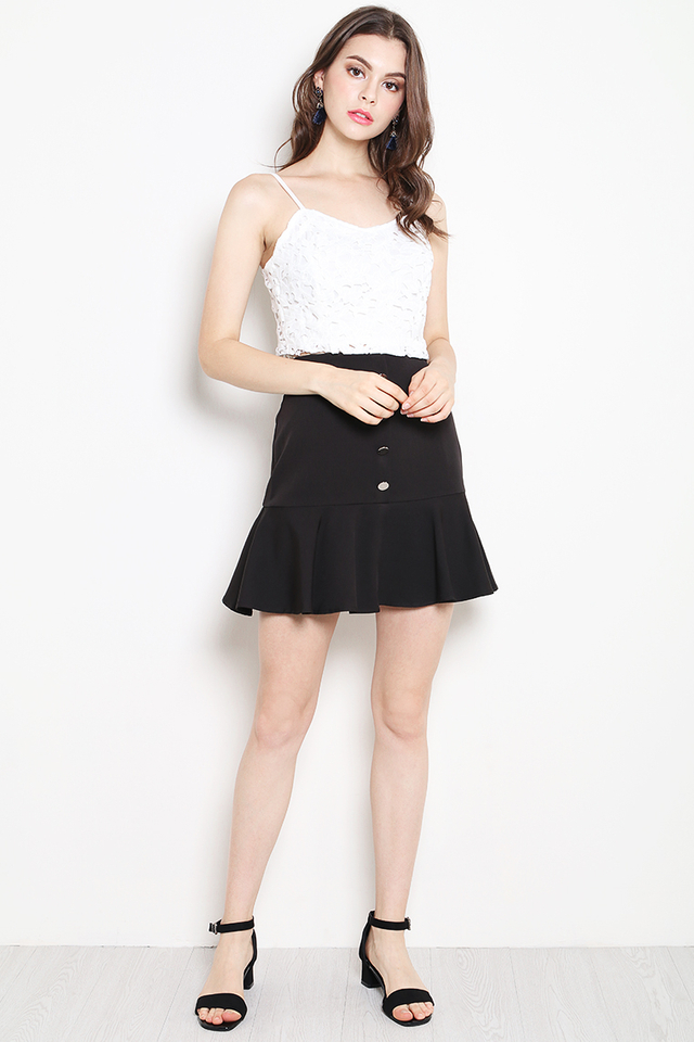 Belita Button Skirt Black