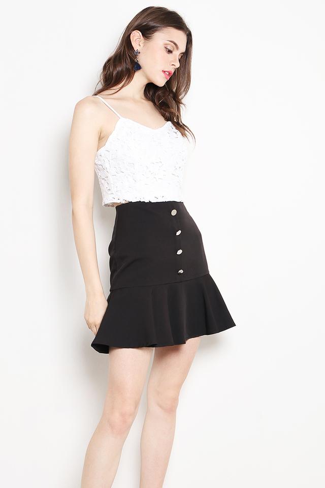 Belita Button Skirt Black