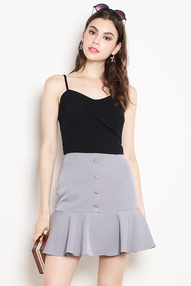 Belita Button Skirt Grey