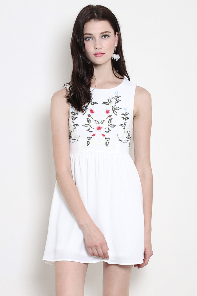 Hudson Embroidery Dress White