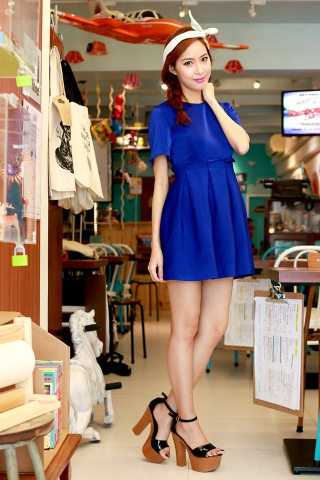SSD With A Little Fold Babydoll Dress (Blue)