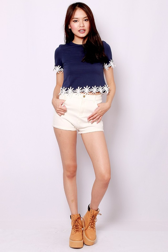 SSD Crochet Daisy Tee (Navy)