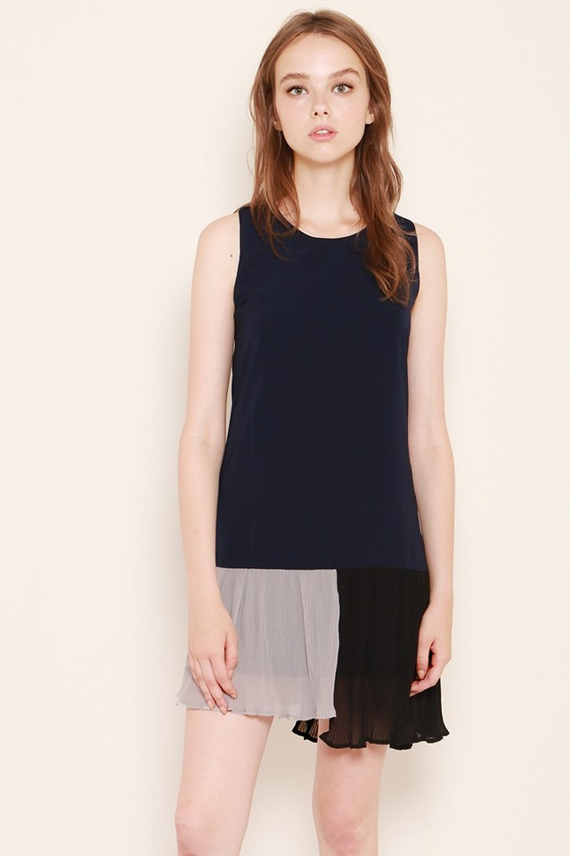 SSD Colourblock Pleat Dress Navy/Black