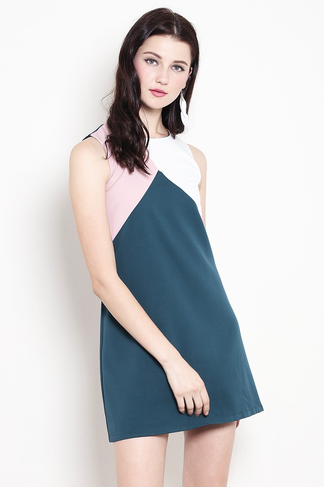 Rumer Colourblock Dress Forest