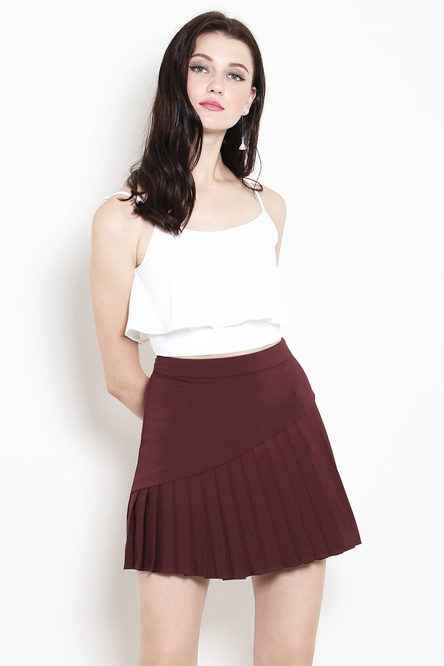 Marlow Pleat Skirt Maroon