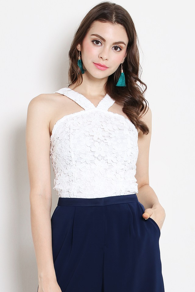 Carmen Crochet Top White