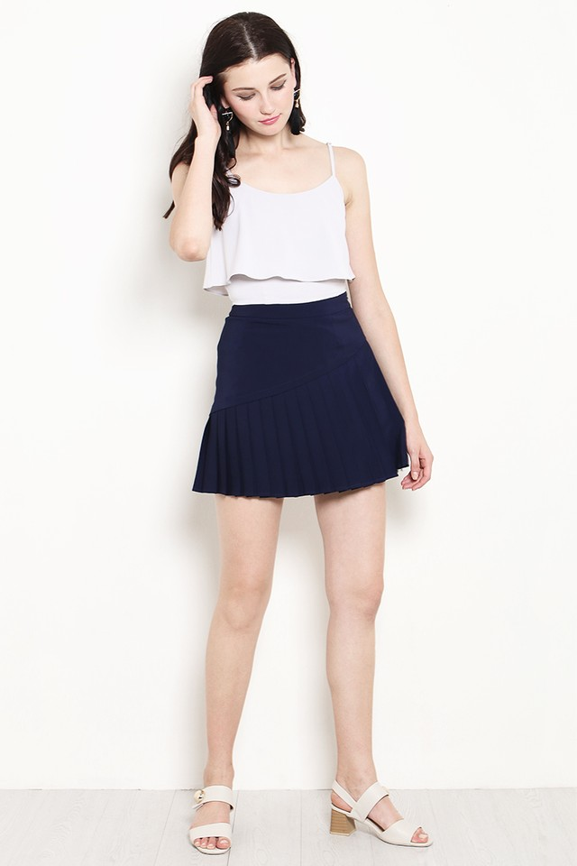 Marlow Pleat Skirt Navy