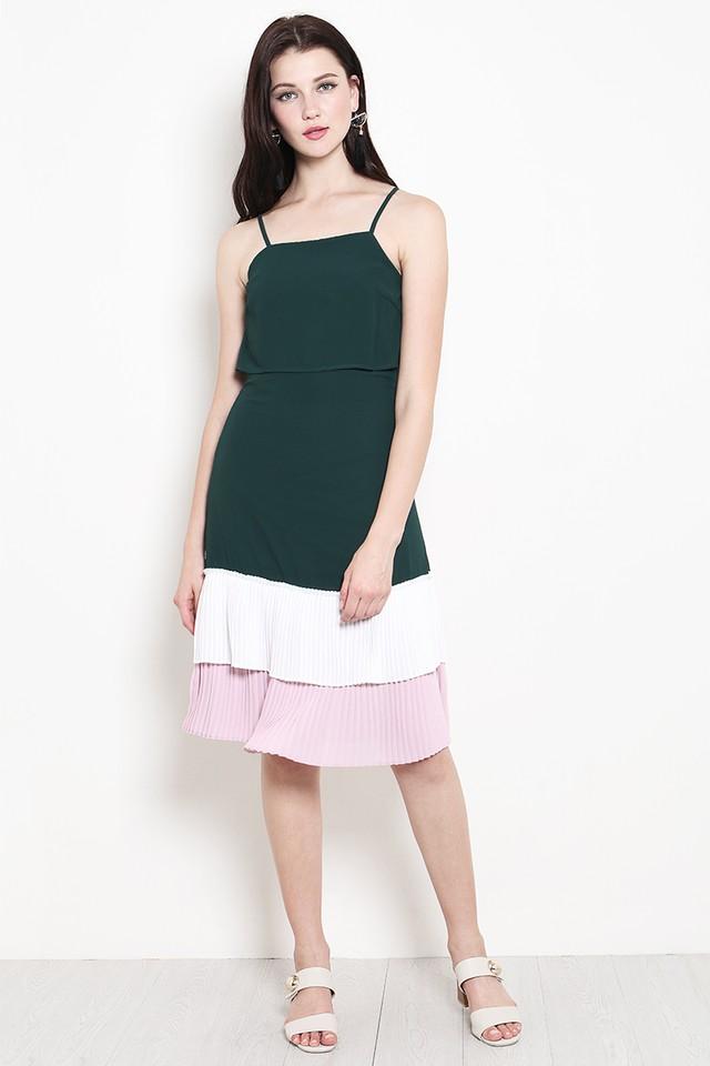 Tiana Colourblock Dress Forest
