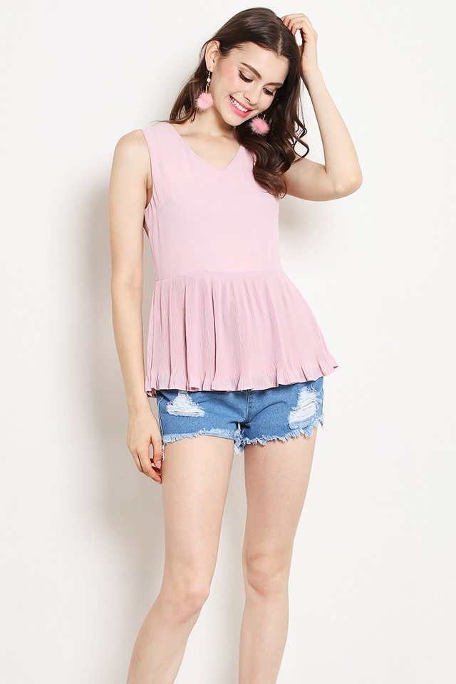 Dixie Pleat Top Pink
