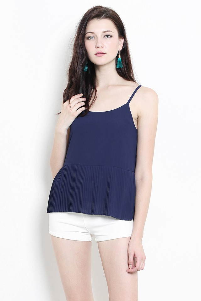 Sahara Pleat Top Navy