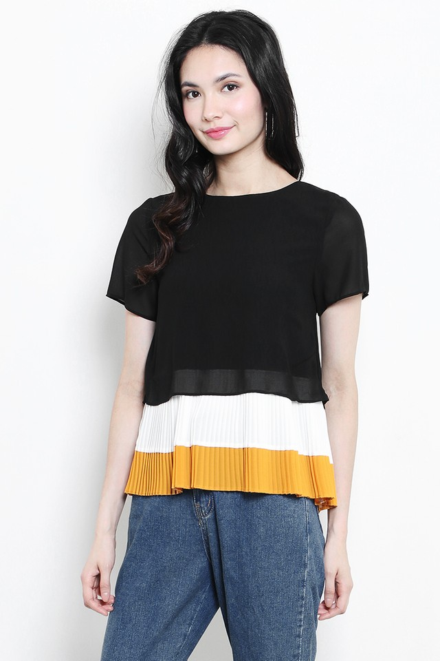 Sherri Colourblock Top Black