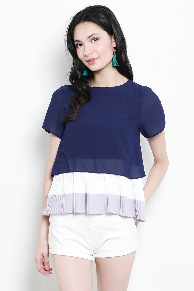 Sherri Colourblock Top Navy