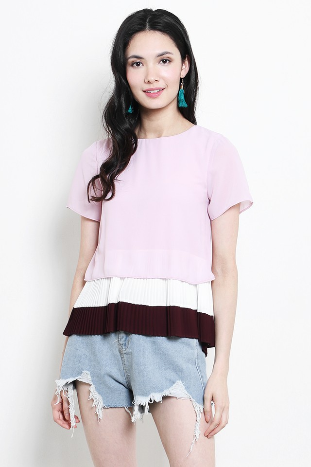 Sherri Colourblock Top Pink