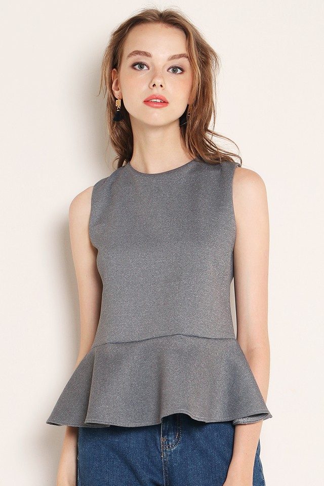 Quinn Peplum Top Grey