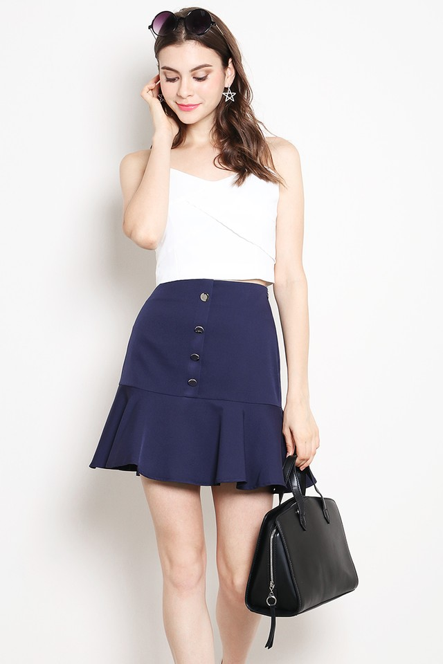 Belita Button Skirt Navy